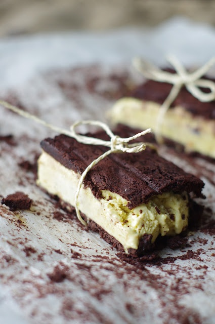 Chocolate sandwiches with home made pistachio ice-cream. Gluten-free!