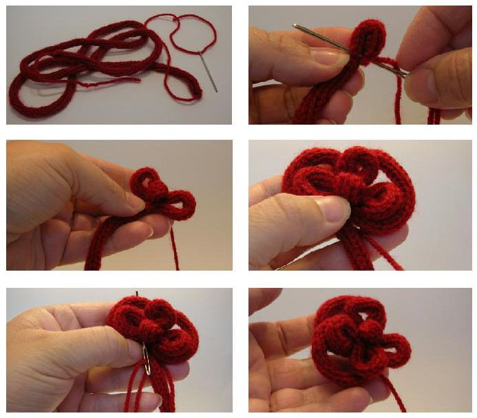red rose french knitting brooch wool hair clip tutorial 1st part