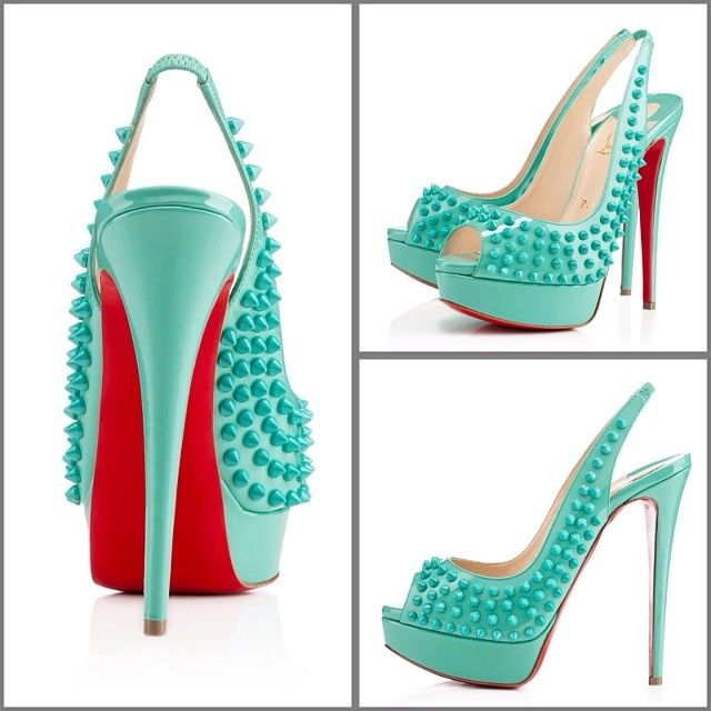 louboutinstores | Lady Peep Spikes 150mm Aquamarine Patent Leather # christianlouboutin #loubout.