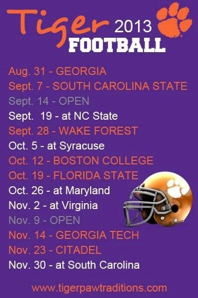 Clemson Football Schedule for my freshmen year of college!!!!!! #gotigers