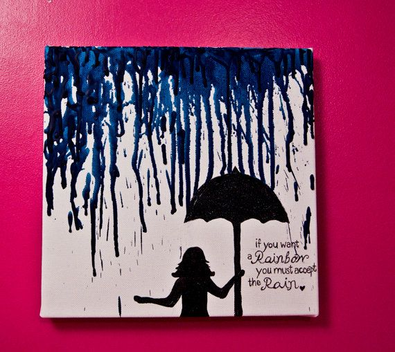 """If you want a rainbow, you must accept the rain"" // Crayon Wax Canvas Art by shuheartdesign on Etsy, $20.00"