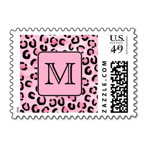 Custom Monogram Black And Pink Leopard Print Postage