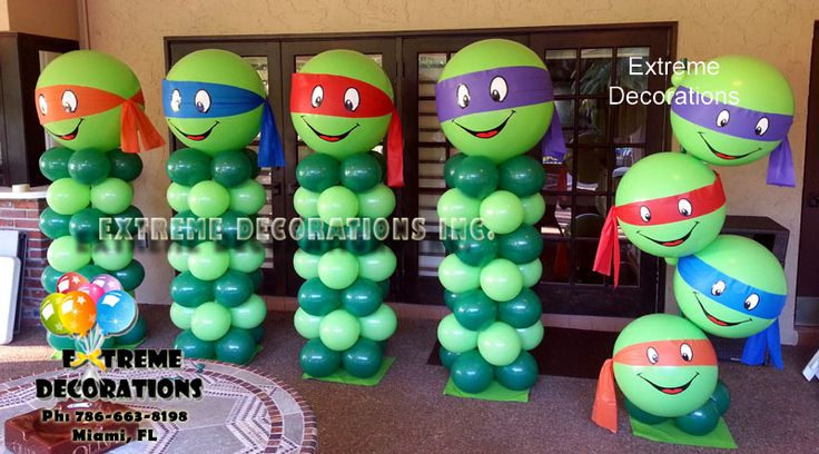 TMNT Ninja Turtles Balloon Decorations. Ninja Turtles party ideas. Balloon columns and sculptures with Ninja Turtles characters. www.extremedecorations.com Extreme Decorations Miami. Ph: 786-663-8198 extremedecorations@gmail.com