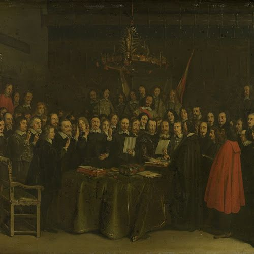 Ratification of the Peace of Münster between Spain and the Dutch Republic in the Town Hall of Münster, 15 May 1648, Gerard ter Borch (II) (copy after), 1648 - 1670 - Rijksmuseum