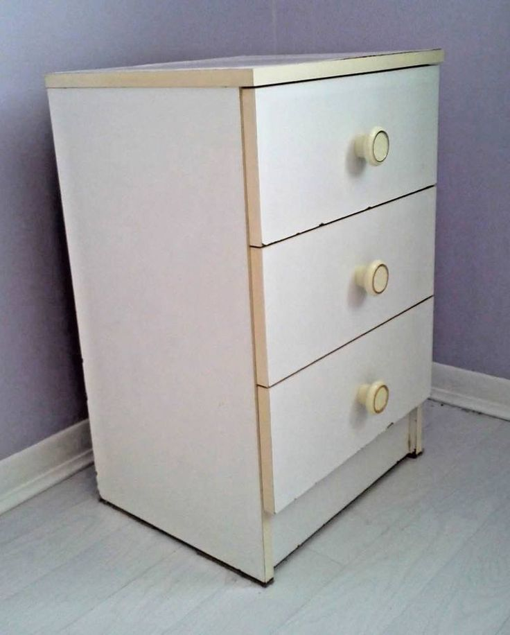 Small White 3 Drawer Chest. Bedside. Kids Bedroom Guest Room Furniture Clearance