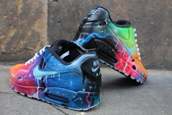 03dd89cb39 Nike Air Max 90 Blue Galaxy Style Painted Custom Shoes Sneaker Airbrush  Kicks rare schuhe *UNIKAT* handpainted shoes dripping swoosh