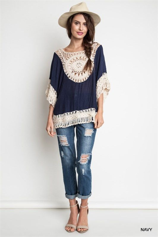 Crochet Tunic - Navy