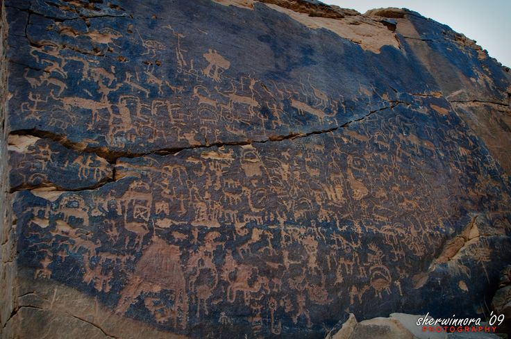 "Location        : Graffiti Rock Arts Province        : Riyadh near Musayqirah (South-East of Riyadh) Region          : Central Coordinates : N: 24 17' 46.6""                        : E:045 40' 52.1""  About 110km from the center of Riyadh, here we found an ancient rock art carvings supposedly dating from between 1,000 and 2,000 BC but could be earlier. Writing is said to be Thamudic script or Pre-Islamic inscriptions and the script dating from the Literate period, after 1000 B..."