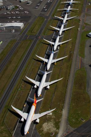 This looks like the line of planes waiting to take off the last time I traveled by plane! - - - 0 787 line up at Boeing paine field. - - - http://pinterest.com/kalola60/cool-stuff/