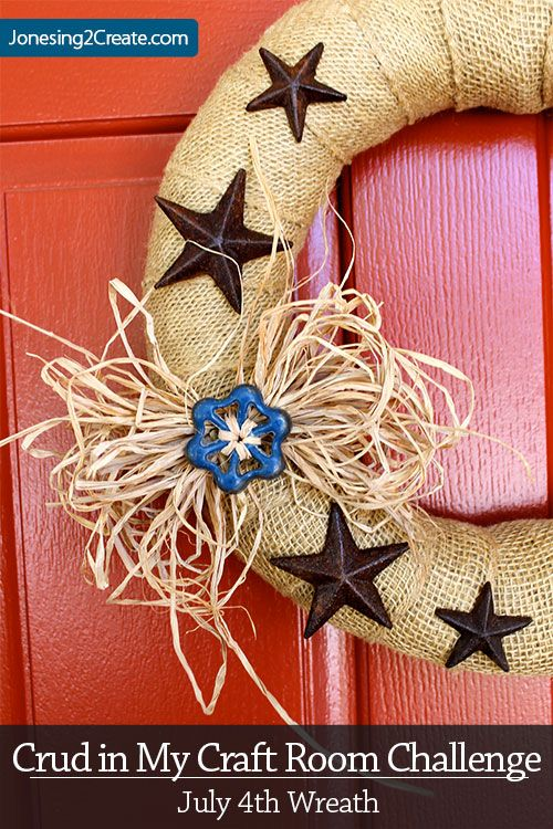 Crud in My Craft Room Challenge: July 4th Wreath With Garden Faucet Handle