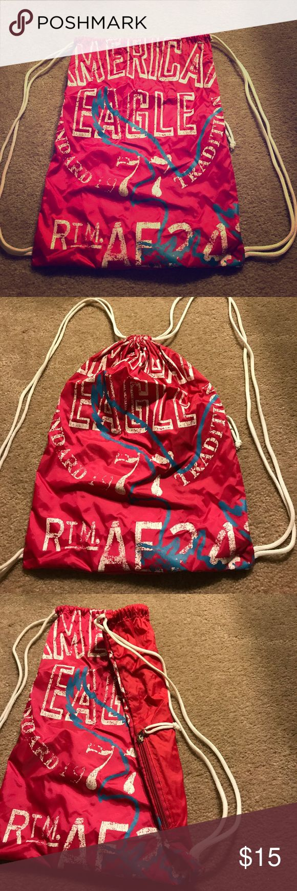 American Eagle spring break drawstring bag. AE sling backpack; used slightly and in good condition. American Eagle Outfitters Bags Backpacks