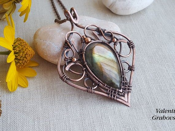 Labradorite and Amethyst pendant in antiqued copper