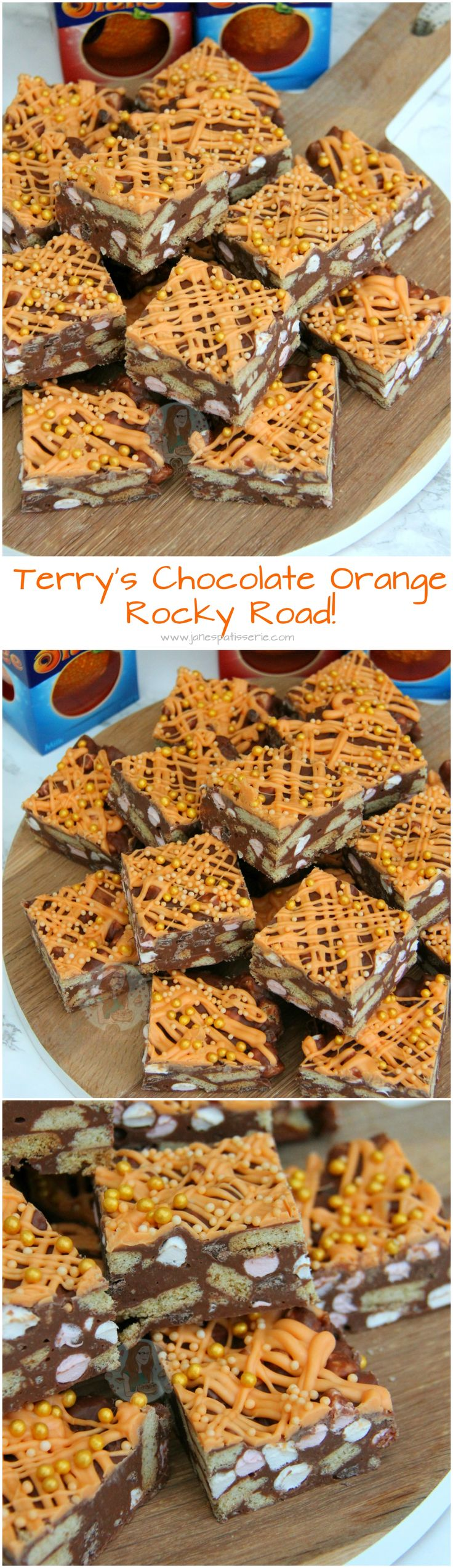 Terry's Chocolate Orange Rocky Road! ❤️ Chocolate, Orange, Biscuits, Marshamallows, Matchmakers and more.