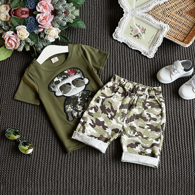 Summer Children Boy Clothes Sets Kids Sports Suit 2pcs Short Sleeves T-Shirt Toddler Suits Camouflage Shorts For Boy Clothing