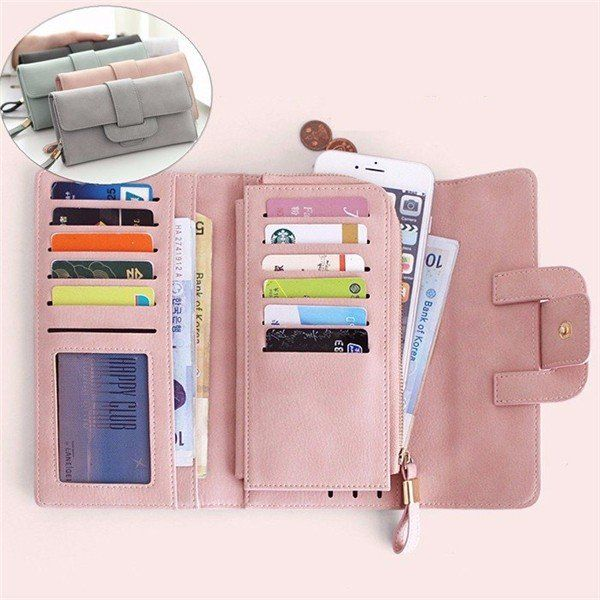 $14.22 Women Stylish Large Capacity Multi-slots Button Hand Long Wallet 5.5 inch Phone Bag Card Holder