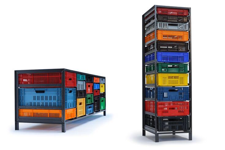 Mark van der Gronden's Krattenkast, a storage unit using industrial plastic crates together with steel frames produced by Lensvelt.