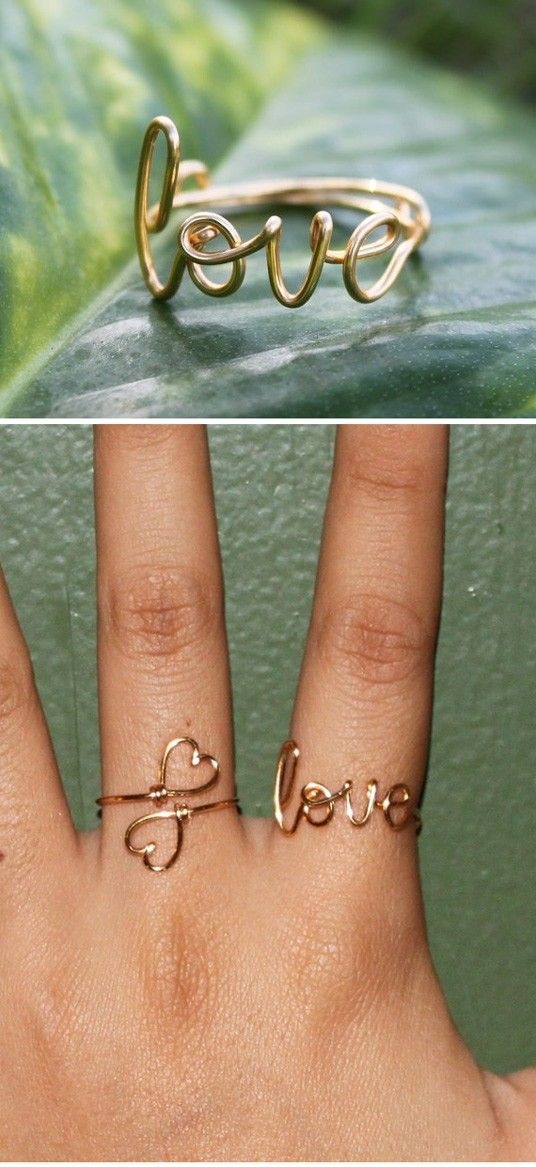 <3: Celebrity Rings, Cute Rings, Wire Jewelry, Wire Rings, Love Rings, Heart Rings, Bridesmaid Gifts, Diy Rings, Wirerings