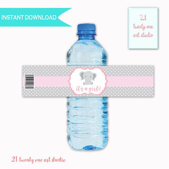 Elephant Baby Shower Water Label  It's a Girl Baby Shower