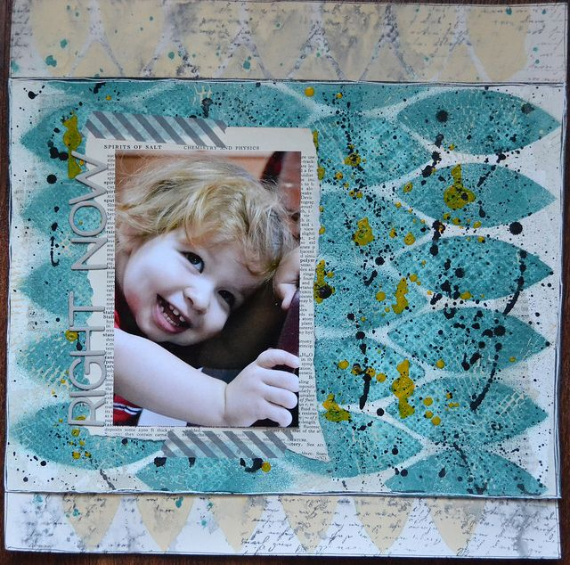 Cathie taught alongside Sara and students made this fun layout in The Paperie's first class of 2013, Designer Duo: Mixed Media.