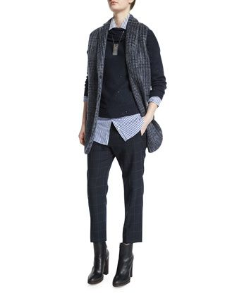 Notch-Collar+Glen-Check+Vest,+Long-Sleeve+Paillette+Cowl-Neck+Sweater,+Monili-Embellished+Striped+Tunic+&+Drawstring-Waist+Windowpane+Cropped+Pants+by+Brunello+Cucinelli+at+Neiman+Marcus.