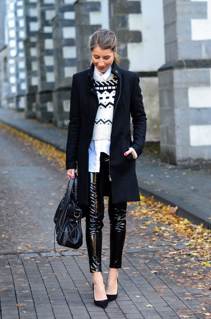 black and white winter layering look