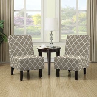 Portfolio Wylie Barley Tan Trellis Print Armless Chairs (Set of 2) - Free Shipping Today - Overstock.com - 17535677 - Mobile