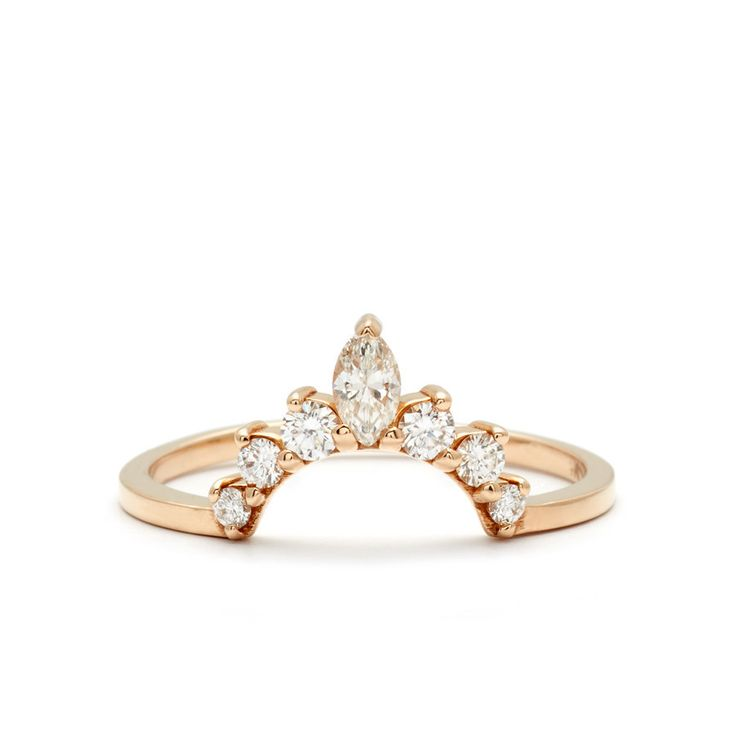 Marquise Tiara Commitment Band for the unique Hazeline Engagement Ring – Anna Sheffield Jewelry