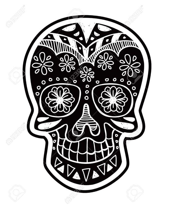 Images For Gt Sugar Skull Black And White Clip Art