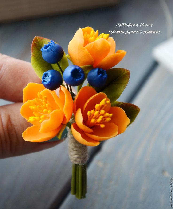 """Купить Брошь-бутоньерка """"Золотая осень"""" - подарок, бутоньерка, оранжевый, оранжевые цветы, осення брошь"""
