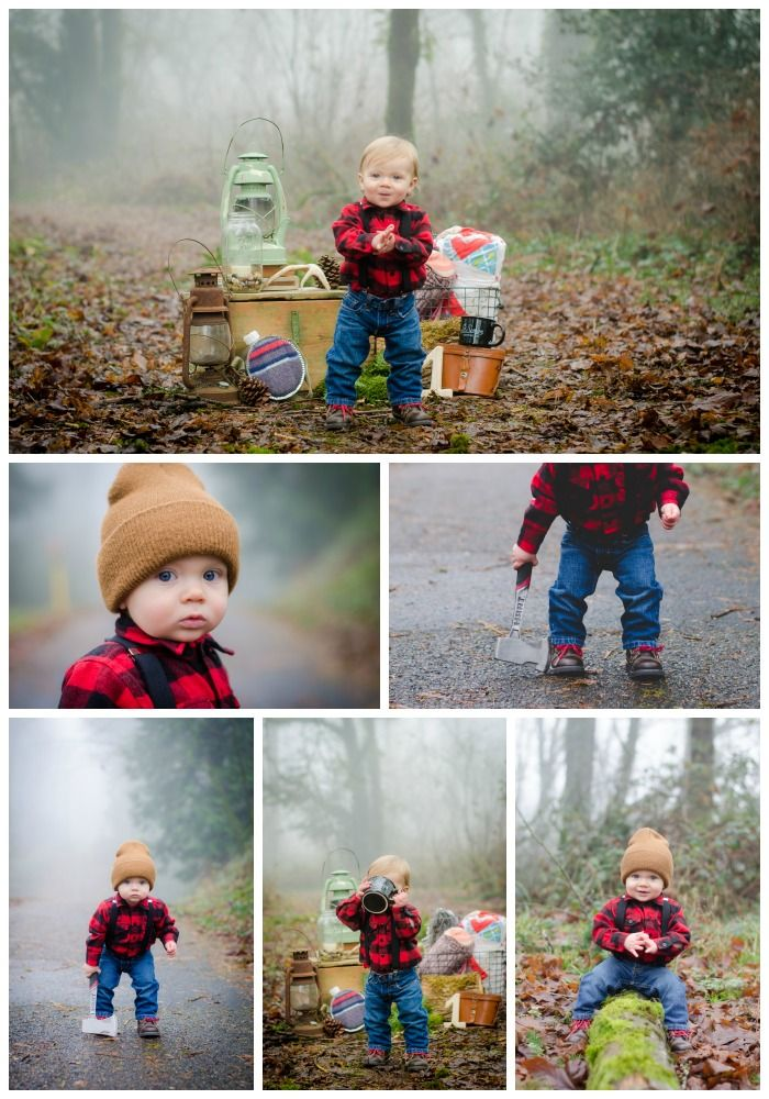 Top Party Trends for 2017. Still loving nature...lumberjack, camping, glamping, woodland, fairy garden, cactus. | Halfpint Design - How cute is this little lumberjack photoshoot!?