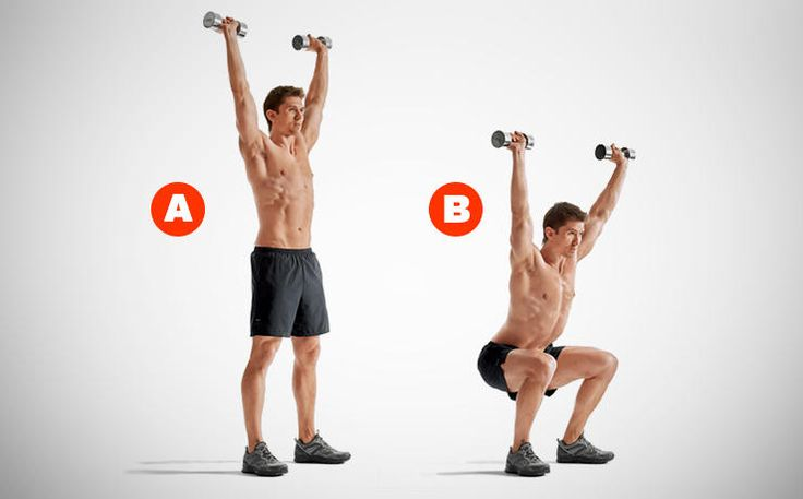 overhead squat with dumbbells