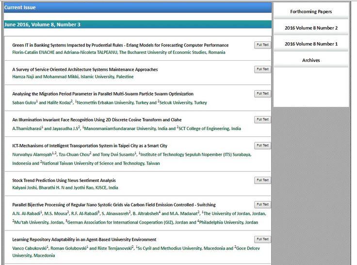 International Journal of Computer Science & Information Technology (IJCSIT) ISSN: 0975-3826(online); 0975-4660 (Print) http://airccse.org/journal/ijcsit.html