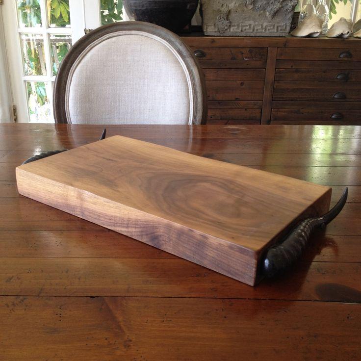 DIRA Walnut & Springbok Horn Handle Cheese Board - Handcrafted from beautiful walnut, our Springbok horn handled cheese boards are simply stunning.