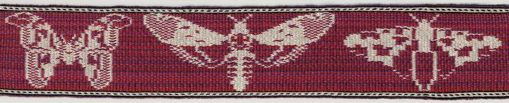 Butterflies in double faced tablet weaving. Marijke van Epen B > Neat! ---But I believe these are moth figures. Modern tabletweaving.