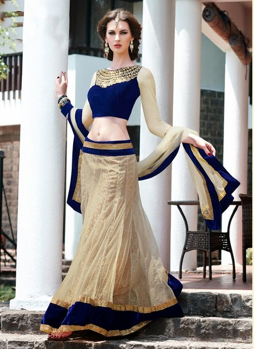 .Marvelous off white with blue velvet shaded simple yet attractive #designer #lehengacholi