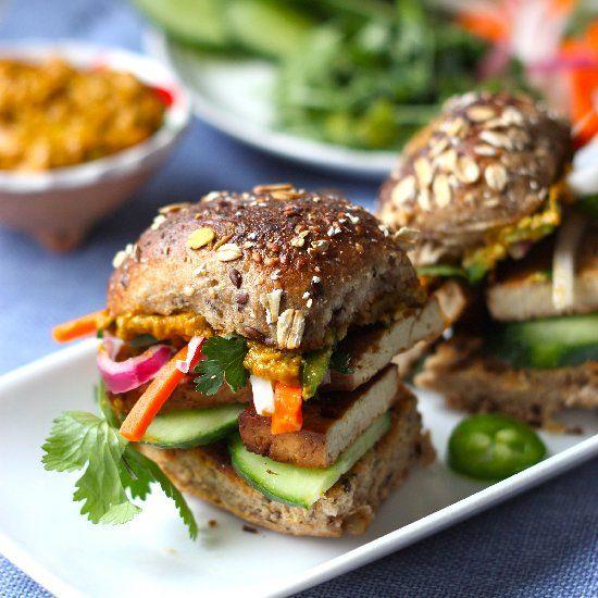 "Lemongrass Tofu Banh Mi with Avocado-Sriracha ""Mayo"" and all the ..."