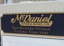 McDaniel Funeral Homes Sign Monument