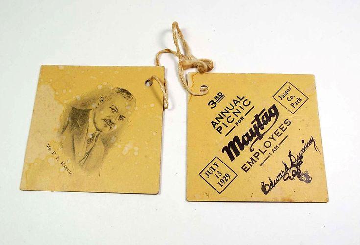 2 Rare Maytag Employee Badges 3rd Annual Company Picnic 13 July 1929 Newton Iowa
