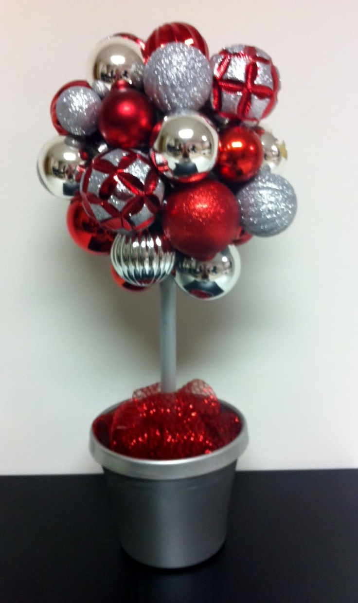 Red silver ornament topiary gorgeous holiday decoration