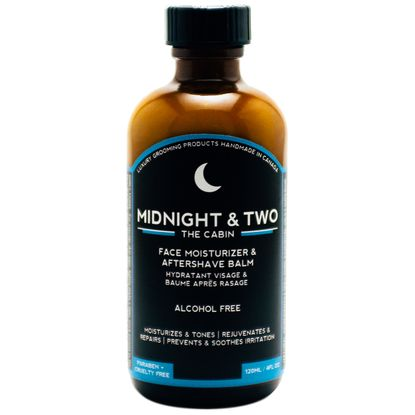 Midnight & Two The Cabin Aftershave rejuvenates your skin and reduces irritation after shaving with natural, organic materials. 100% essential oils make this aftershave smell of cabin country. Available at House of Knives.
