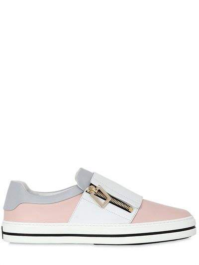 ROGER VIVIER - 25MM ZIP-UP LEATHER SLIP-ON SNEAKERS - LUISAVIAROMA - LUXURY SHOPPING WORLDWIDE SHIPPING - FLORENCE