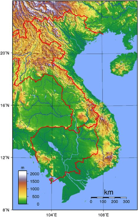 Student Choice (Geography): The map geographical elevation map of Vietnam. It is slightly larger than New Mexico and Norway, it is about 1,000 miles north to south, and the north and south deltas are separated by high lands. Vietnam's area is 127,881 square miles.