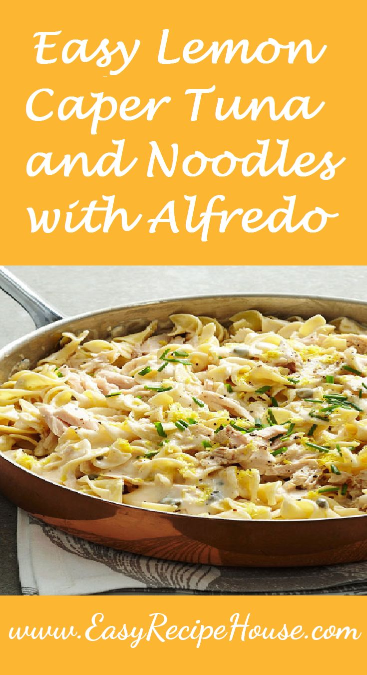 Easy Lemon Caper Tuna and Noodles with Alfredo- Easy Dinner Recipe- Quick 5 Minute Prep Dinner Recipe- Tasty and Simple perfect for Midweek dinner