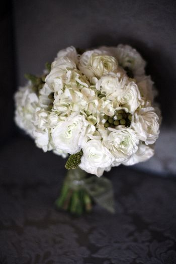 white ranunculus and hydrangia bouquet