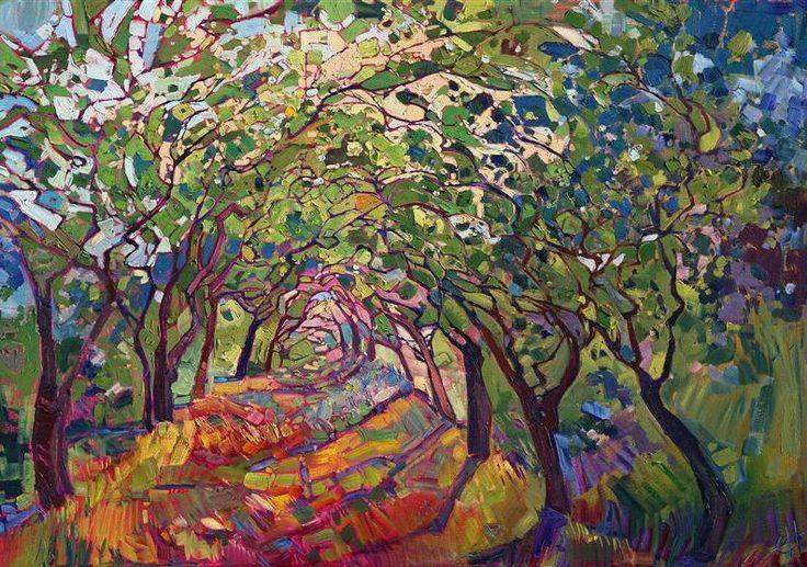 Erin Hanson, The Path (2014).  Diplômée de Berkeley en génie biologique, cette artiste américaine visant en Californie puise dans la nature ses sources d'inspiration et l'équilibre des compositions de ses tableaux impressionnistes.
