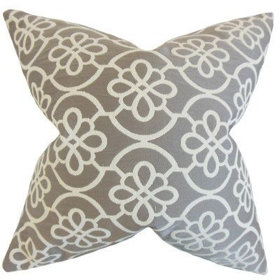 "August Grove Synthetic Throw Pillow Color: Grey, Size: 18"" x 18"""