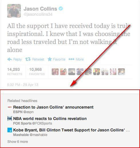 Twitter anuncia una nueva sección de Noticias Relacionadas en tweets incrustados en sitios web