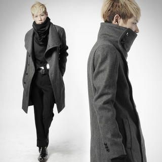 Wool blend high-neck coat