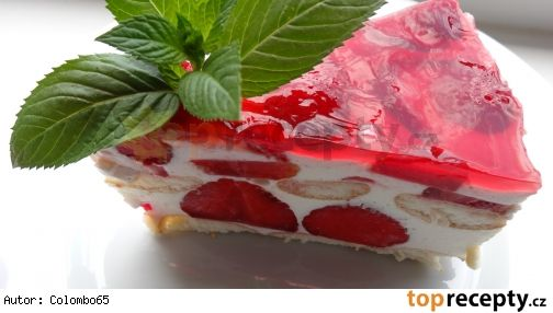 Nepečený tvarohovo-pudinkový dortík s jahodami a želé