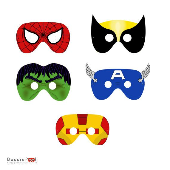 Printable SPIDERMAN and FRIENDS masks. Instant download PDF file.
